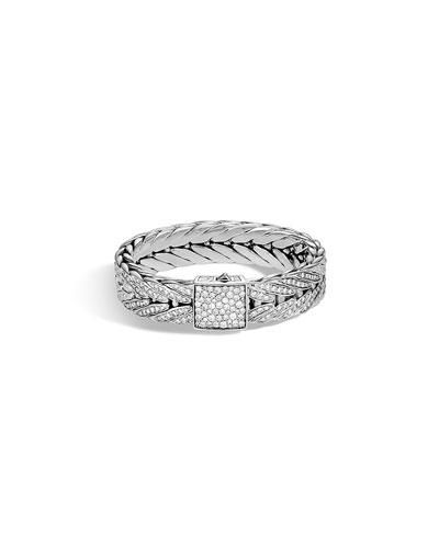 Men's Modern Chain Silver Bracelet w/ Diamonds