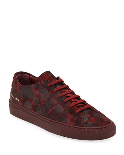 Men's Achilles Camo Suede Low-Top Sneakers, Red