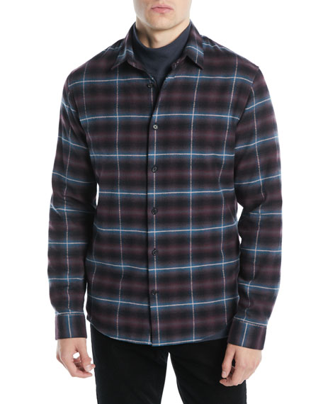 Vince Men's Shadow Grid-Plaid Button-Down Shirt
