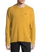 Ovadia & Sons Men's Leopard Distressed Sweater