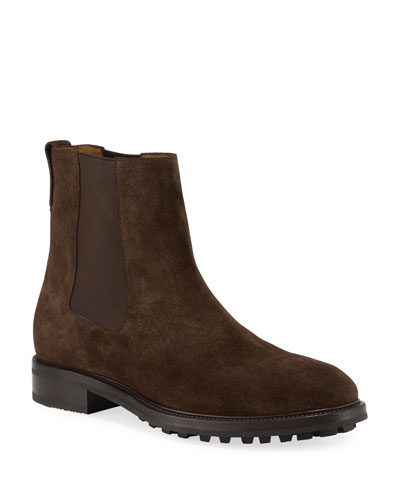 Men's Stuart Lug-Sole Suede Ankle Boots