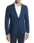 BOSS Large Plaid Wool-Cotton Jacket