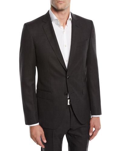 Men's Huge Genius Solid Slim-Fit Two-Piece Wool Suit