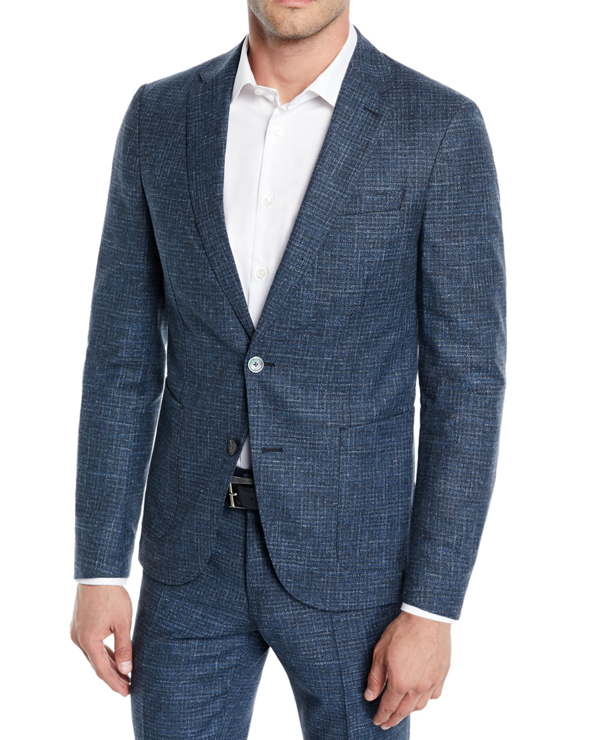 Men's Micro-Weave Wool/Cotton Two-Piece Suit