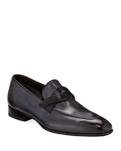 Men's Twist-Front Leather Loafers