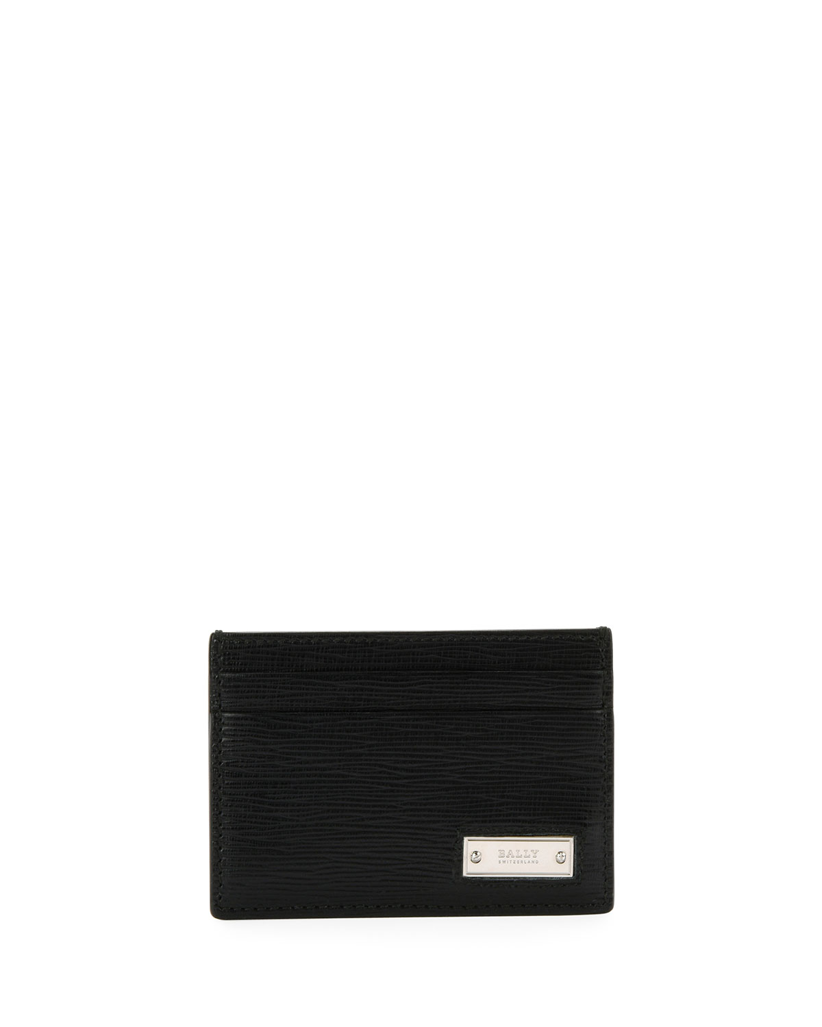 BALLY MEN'S BHAR LEATHER CARD CASE, BLACK