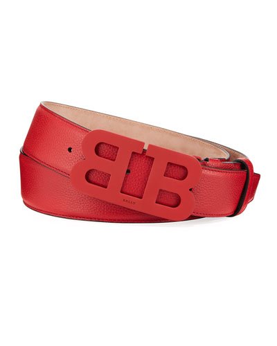 Men's Mirror B Leather Belt, Red