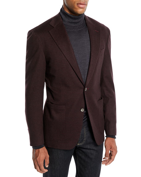 Canali Men's Two-Button Check Super 170s Wool Travel Blazer