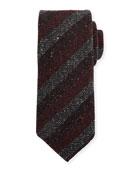 Kiton Melange Stripe Wool/Silk Tie, Blue
