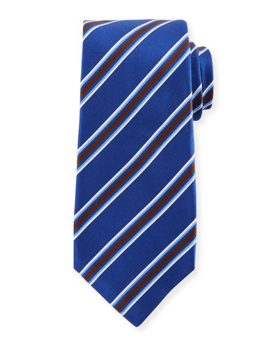 Framed Satin Stripe Tie, Blue
