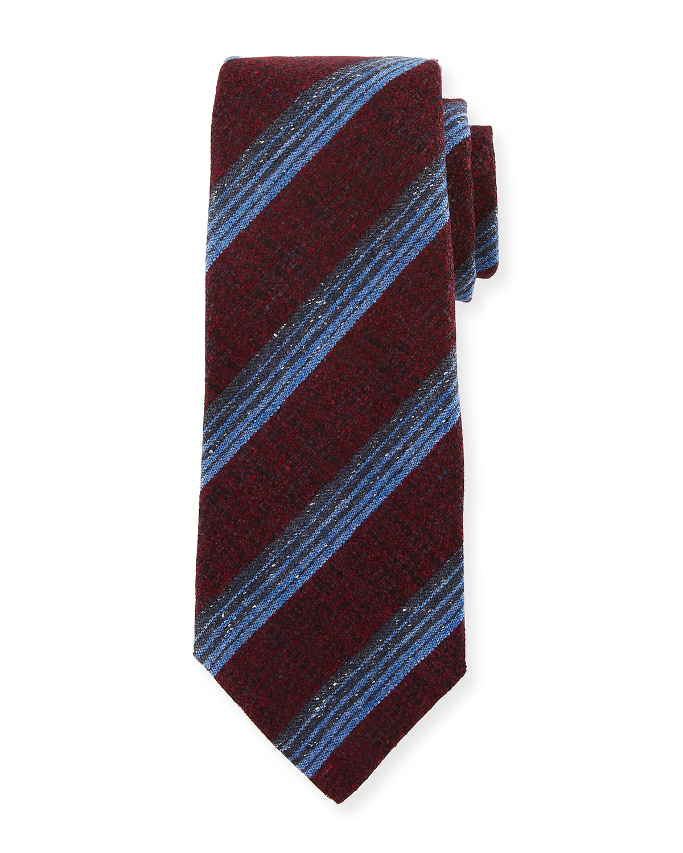 Variegated Stripe Wool/Silk Tie, Red