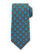 Kiton Circle Medallion Silk Tie, Blue