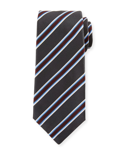Framed Satin Stripe Tie, Gray