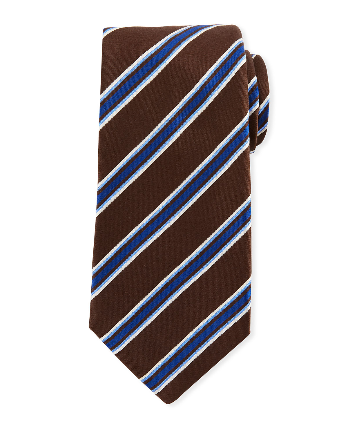 Framed Satin Stripe Tie, Brown