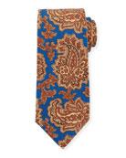 Kiton Vibrant Paisley Silk Tie, Blue