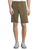 FRAME Raw-Hem Twill Shorts with Rock-Climbing Rope Trim