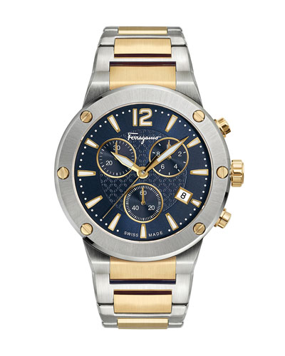 Men's 41mm F-80 Two-Tone Chrono Bracelet Watch, Blue