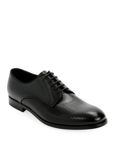 Men's Formal Patent Chevron Leather Lace-Up Shoe