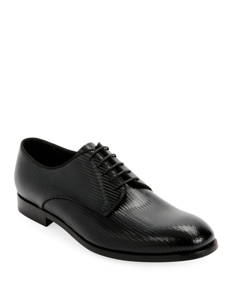 Giorgio Armani Men's Formal Patent Chevron Leather Lace-Up Shoe