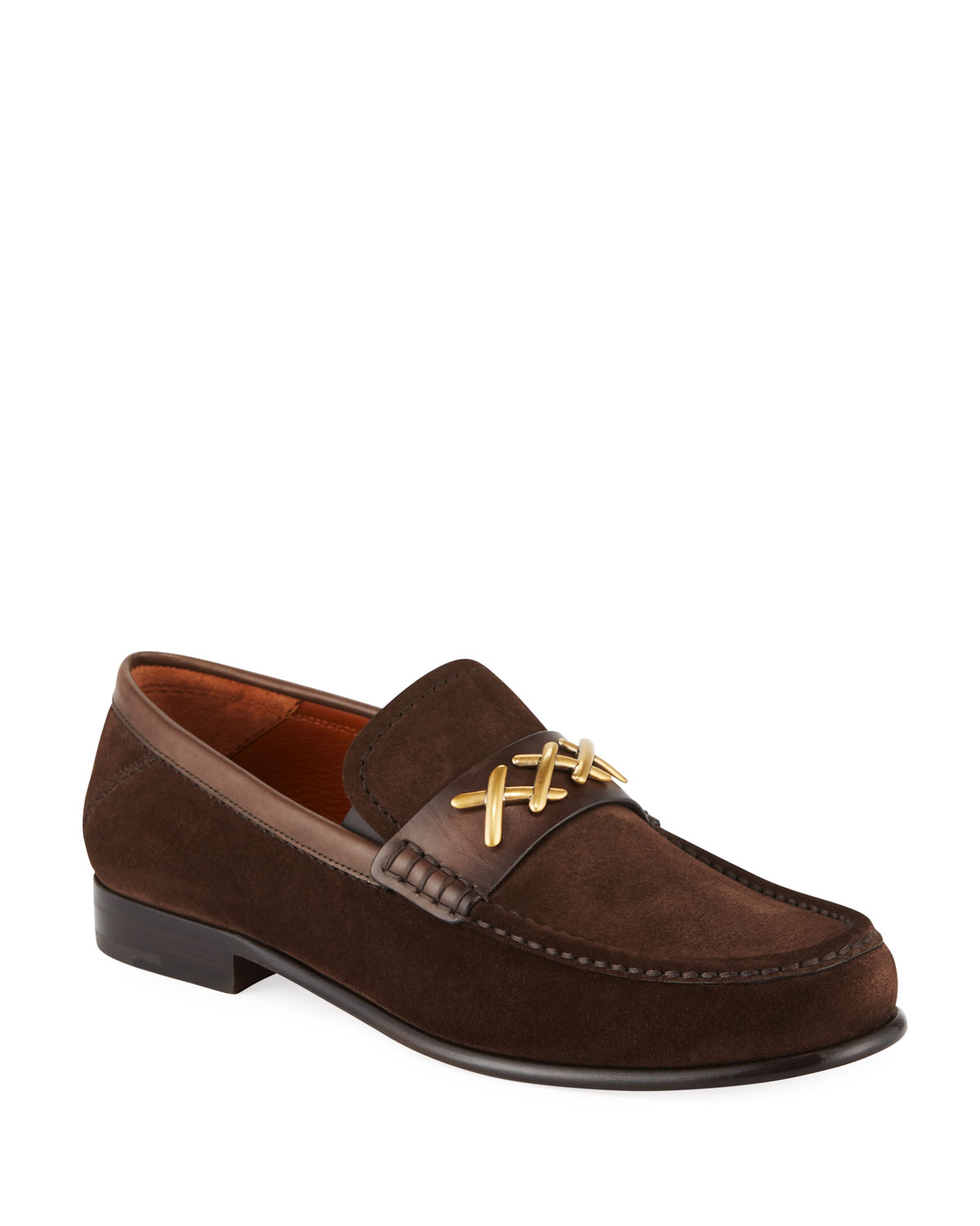 Asola Leather-trimmed Suede Penny Loafers - Army greenErmenegildo Zegna