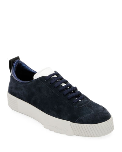 Men's Suede Low-Top Sneaker, Navy