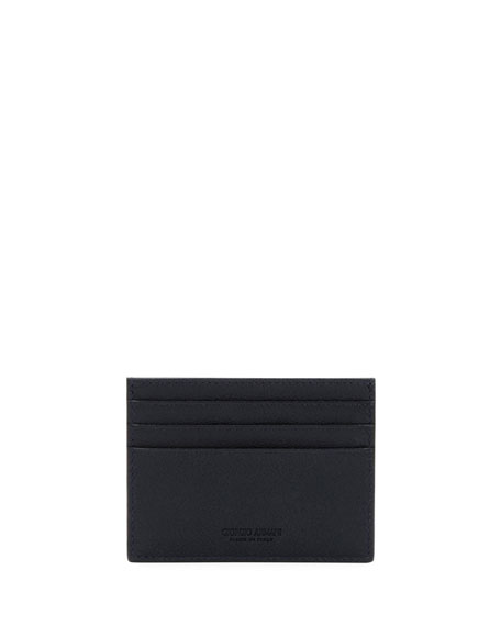 Giorgio Armani Tumbled Leather Credit Card Holder, Navy