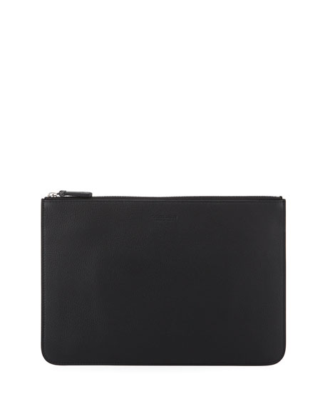 Giorgio Armani Men's Tumbled Leather Document Holder, Black