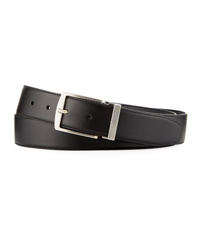 Men's Dual-Textured Leather Belt, Black/Blue