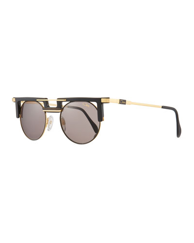 Men's Round Acetate/Metal Sunglasses