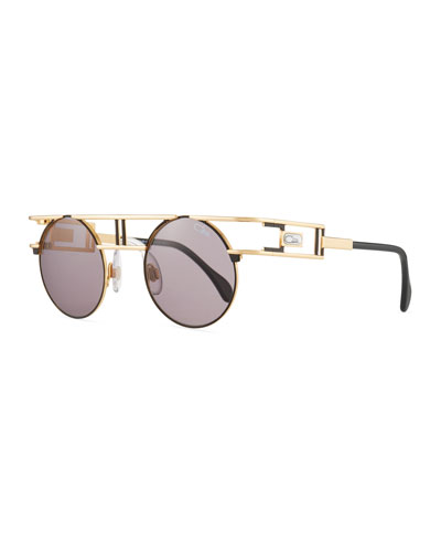 Men's Round Metal Double-Bar Sunglasses