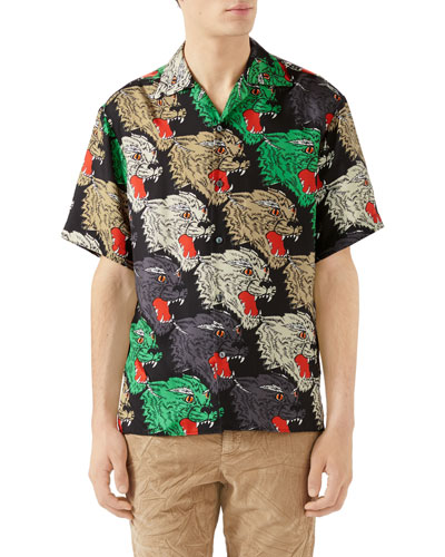 70255ab2f5351 Quick Look. Gucci · Men s Multicolor Panther-Print Silk Shirt. Available in  Black