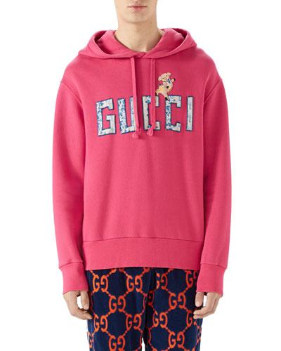 Logo-Patch Pullover Hoodie Sweatshirt