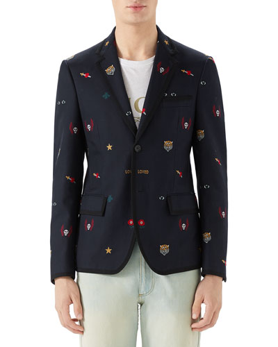 765dfd0e3 Embroidered Notched Collar Jacket | Neiman Marcus