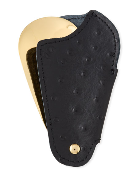 Utile 4 Golden Travel Shoe Horn with Printed Ostrich Leather Case, Black