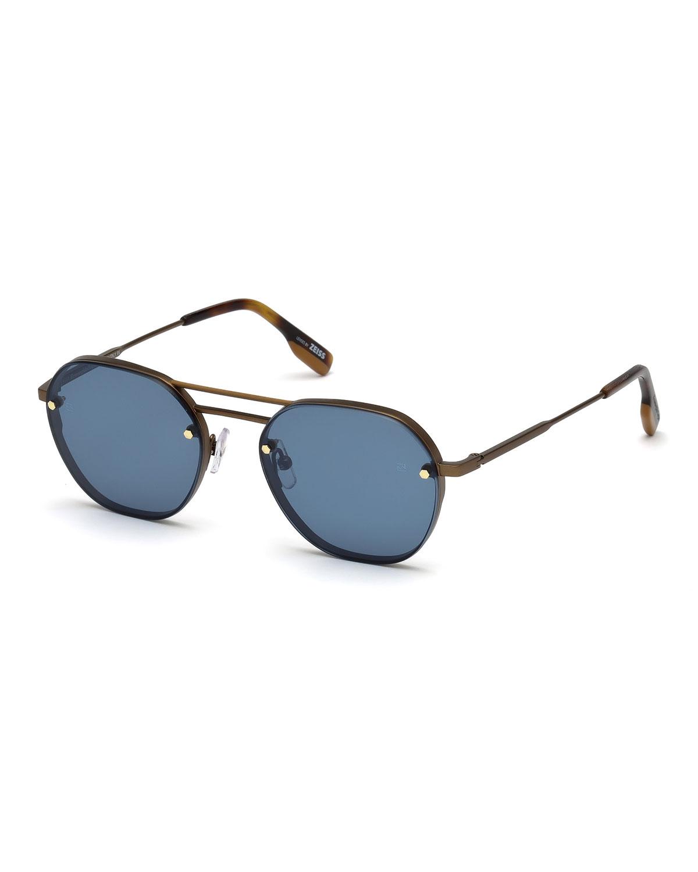 Men's Round Titanium Sunglasses