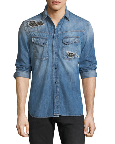 25af6b9592e Quick Look. Just Cavalli · Men s Denim Western Shirt with Studded Patches