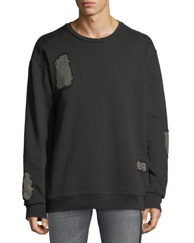 Stud-Patch Crewneck Sweatshirt