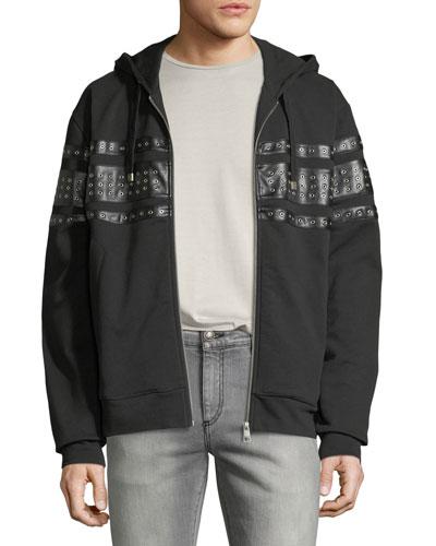 Men's Grommet-Detail Zip-Front Hoodie Sweatshirt