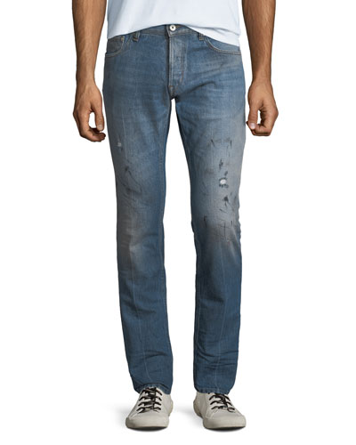 Men's Slim-Fit Paint-Splattered Jeans