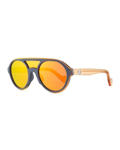Men's Round Shield Mirrored Sunglasses, Gray