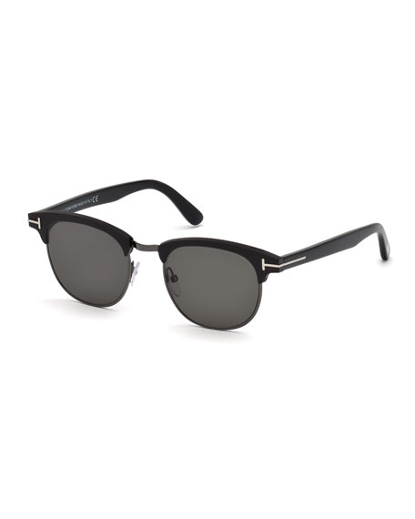 TOM FORD Men's Half-Rim Metal/Acetate Sunglasses - Silvertone Hardware