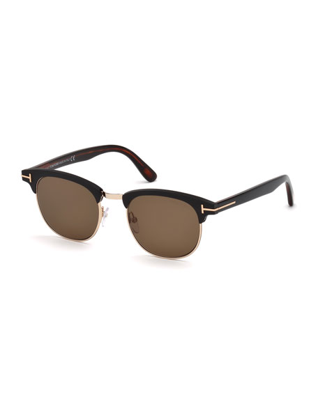 TOM FORD Men's Half-Rim Metal/Acetate Sunglasses - Golden Hardware