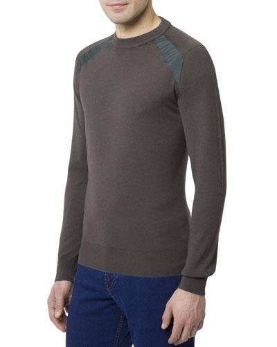 Men's Crewneck Wool-Silk Sweater w/ Silk Shoulder Detail