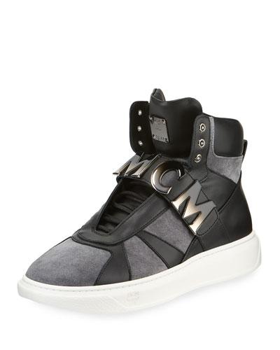 Men's Logo-Strap High-Top Suede Sneakers