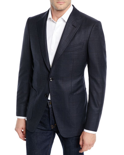 Men's O'Connor Exploded Plaid Wool-Silk Blazer Jacket