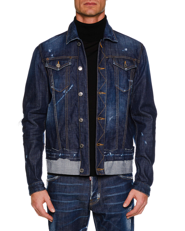 Men's Button-Front Distressed Denim Jacket w/ Contrast Hem