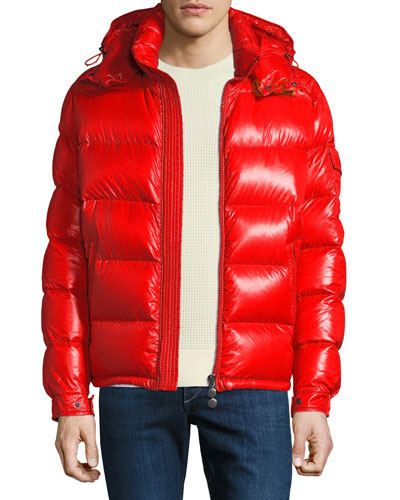 red shiny moncler jacket