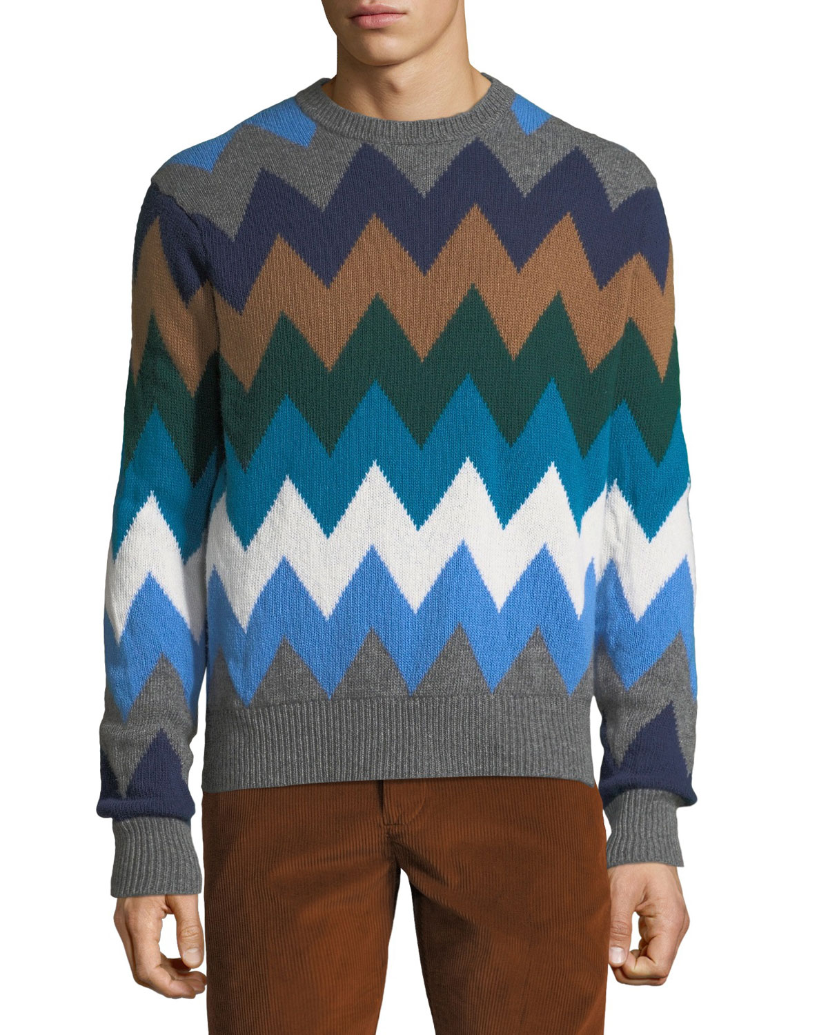 Men's Diamond Stripe Wool Sweater