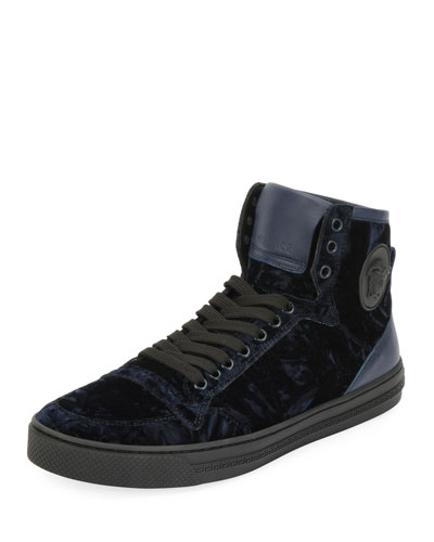 Men's Velvet High-Top Sneakers, Navy