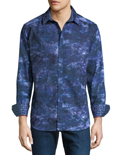 NM Exclusive Classic Fit Camo-Printed Sport Shirt